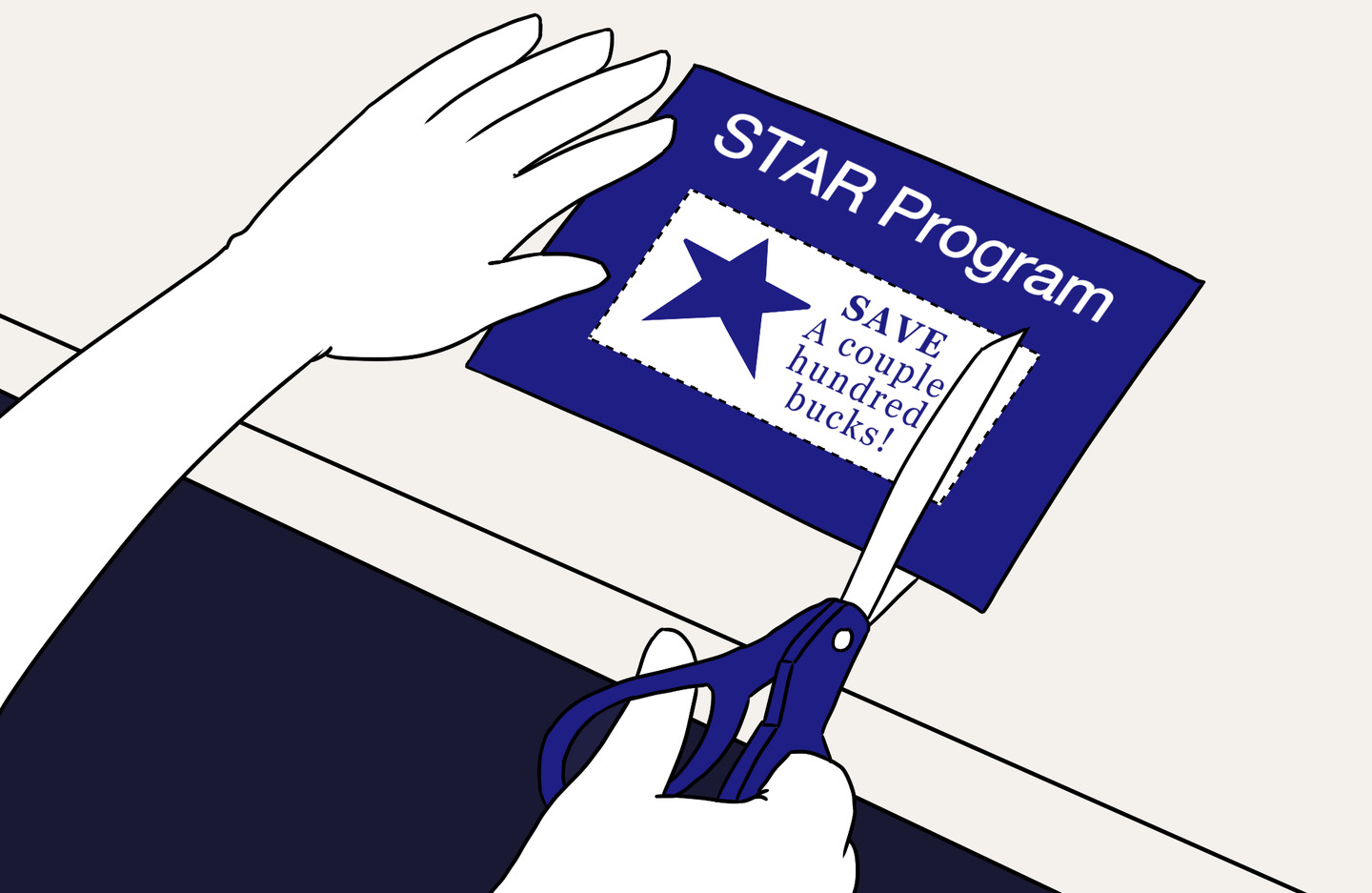 Homeowner cutting out a coupon to apply to the NYC STAR program