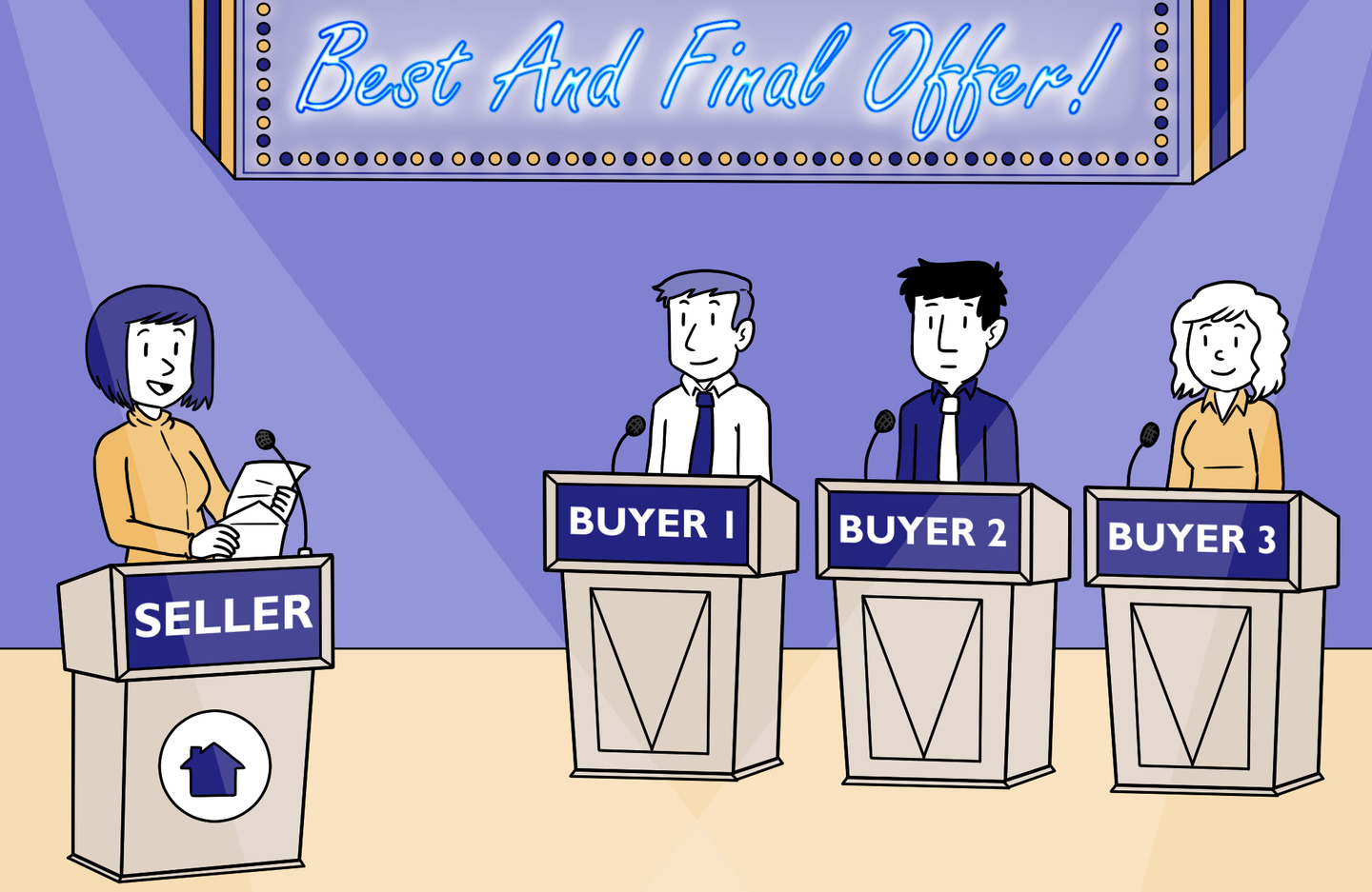 Buyers stand at game show podiums while the host reveals their best and final offers for their NYC apartment purchase