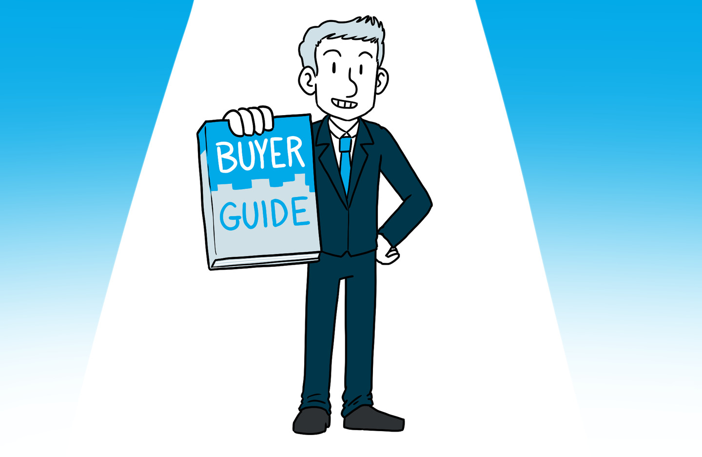 Confident buyer holding up a published Buyer's Guide
